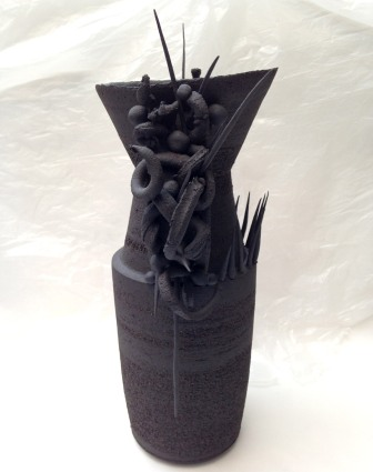 baroque vessel with abstract handles, black stoneware - 40cm height