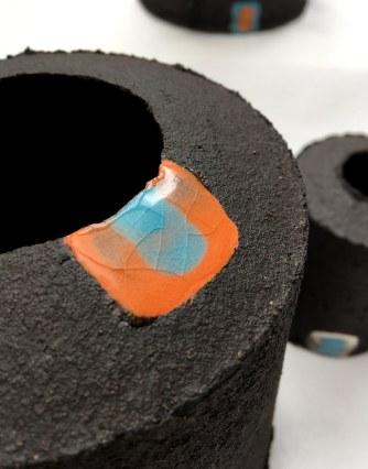 black stoneware with uneven edges